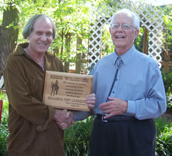 Eddie receiving the Western Trails Historical Society Poet Laureate Award